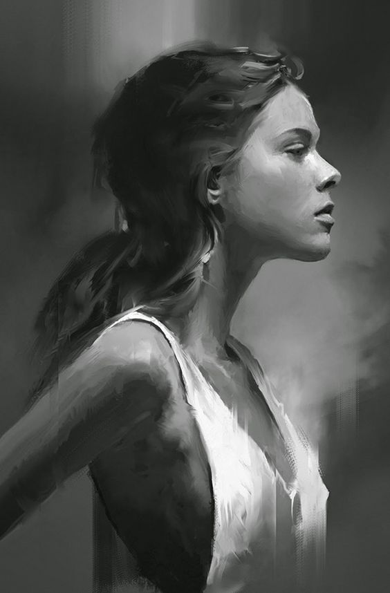 Artist: David Seguin {figurative realism art beautiful female head profile monochrome woman face portrait digital painting #loveart} http://behance.net/DavidSeguin