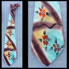 1940s Silk Hand Painted Men's Necktie Bold Color Strokes