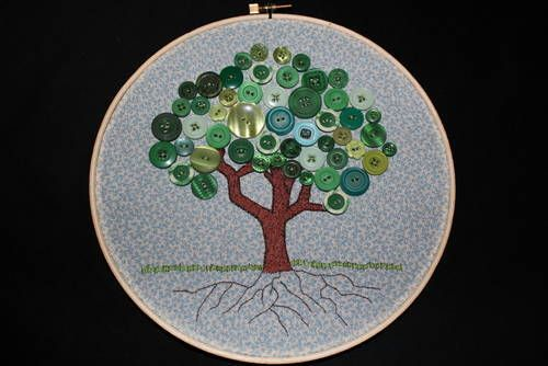 Button Tree Embroidery #embroidery #buttons #tree