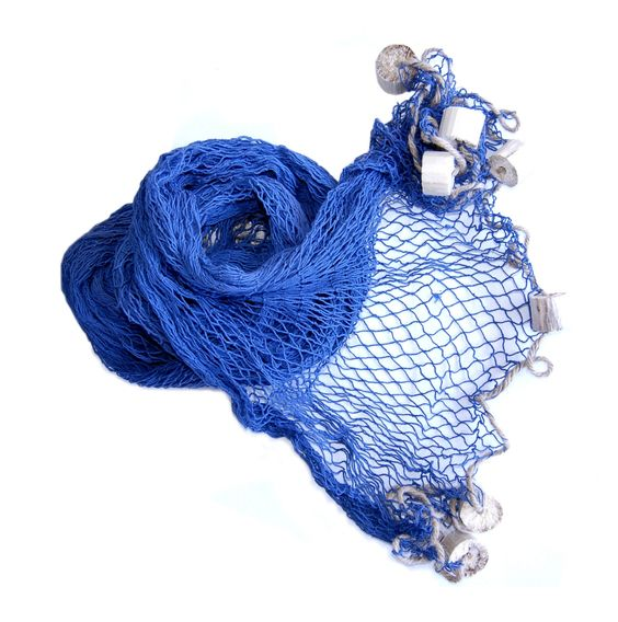 Fishing+Net,+Blue+:+For+a+shop+window+decoration+or+for+your+party+room.+Blue+fishing+net+with+floaters.+The+mesh+width+is+1.6+inches.+The+net's+rope+is+thin.+  Measurements:Length+98+inchesWidth