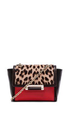 Diane von Furstenberg Mini Shoulder Bag in Leopard & Paprika