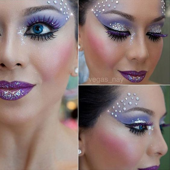 Fairy, glitter lips, eye liner all the way around eye.
