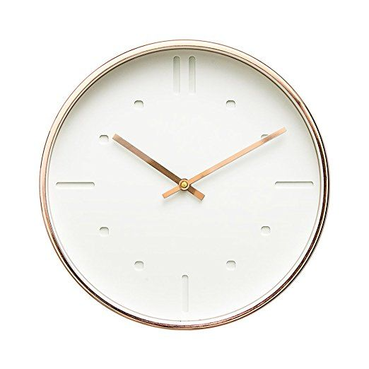 Amazon Com Luxury Modern 12 Silent Non Ticking Wall Clock With Rose Gold Frame Feminine White Home Kitchen Wall Clock Clock White Clocks