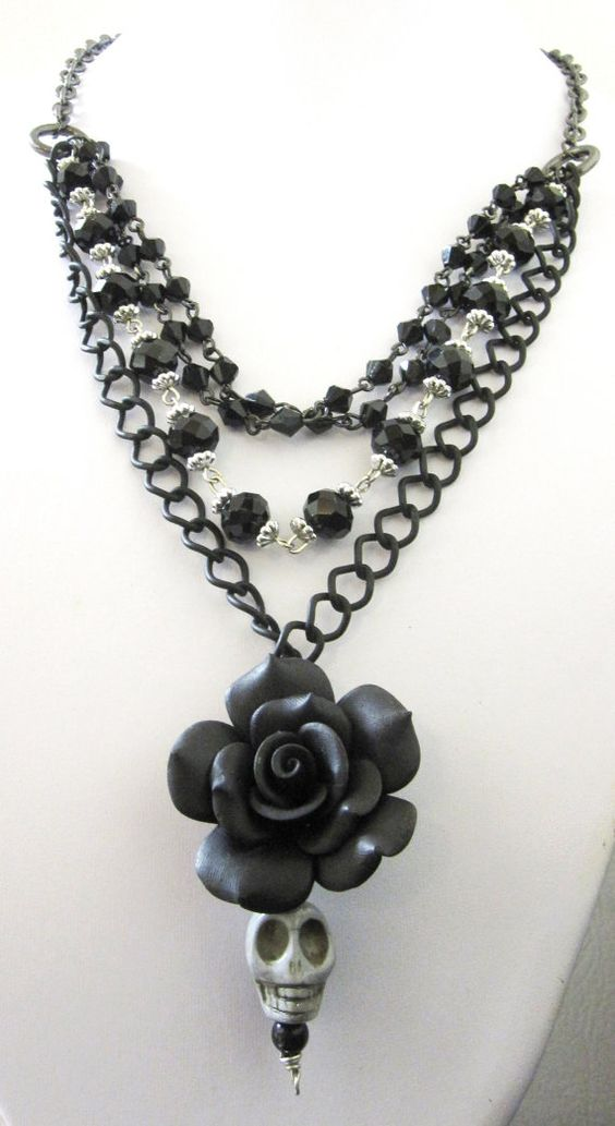 Day Of The Dead Necklace Sugar Skull Black Rose by sweetie2sweetie, $29.99