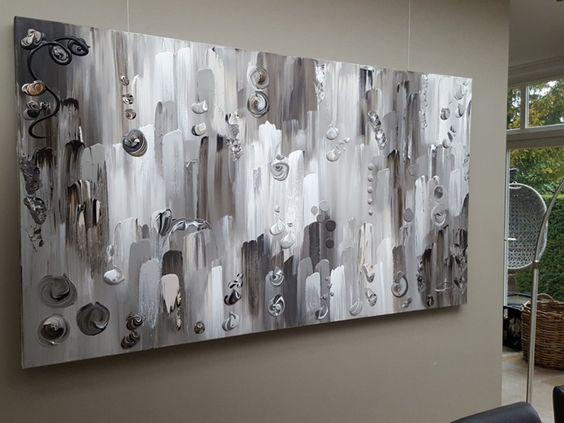 Karma 220 x 120 x 4 5 groot abstract schilderij in vergrijsde taupe tinten taupe grijs - Bruin taupe schilderij ...