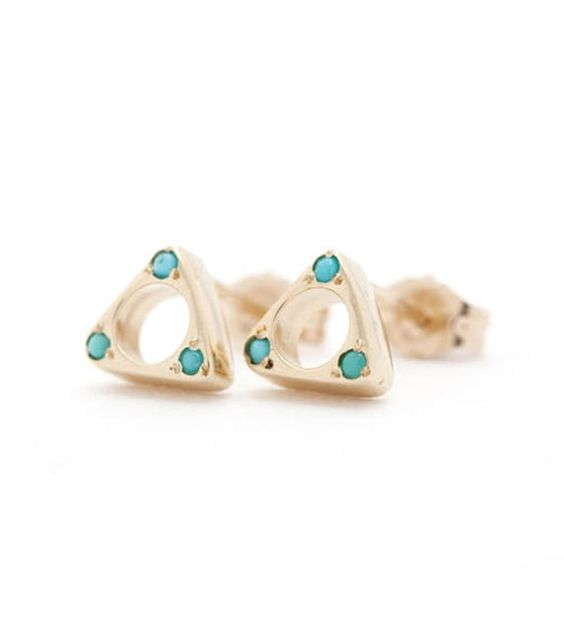 catbird::WHAT'S NEW: jewelry::Tulum Triangle Earrings, Gold w/Turquoise