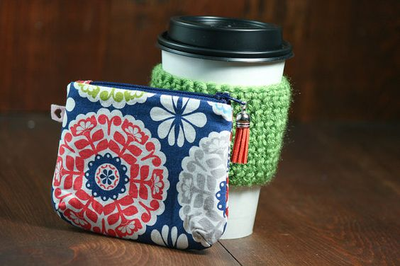 Green Reusable Coffee Cozy sleeve and Matching by MyLittleLaLa, $20.00 - love the matching coin wallet! #coffee
