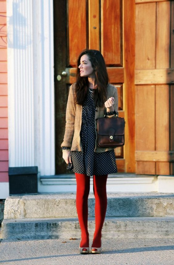 Bright red tights outfit