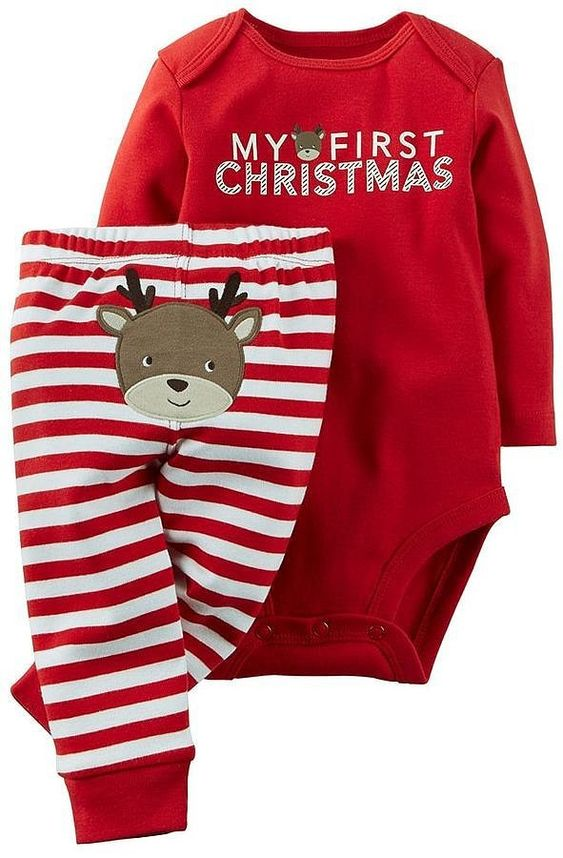 """Carter's Baby """"My First Christmas"""" bodysuit & pants set."""