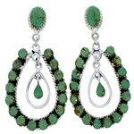 Southwestern Silver Turquoise Post Dangle Earrings MW73494