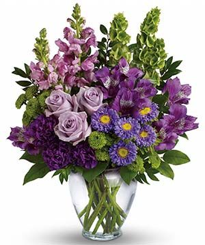 Lavender Charm Bouquet, a vibrant arrangement of light and dark purples. Perfect for a birthday or anniversary.: