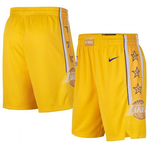 Men's Lakers Nike Icon Swingman Basketball Shorts Yellow Gold ...