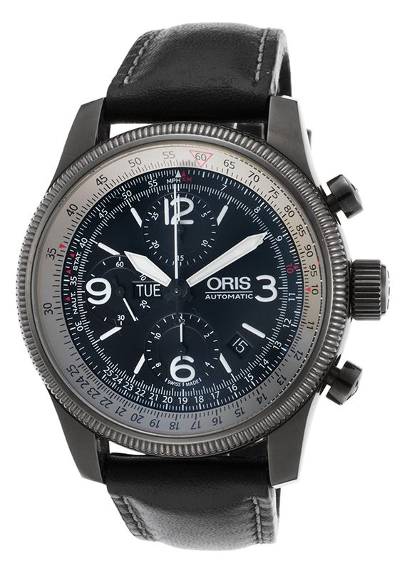 Oris 67576484264-SET52377-SD Watches,Men's Big Crown X1 Calculator Auto Chrono Black Leather Gunmetal IP SS, Luxury Oris Automatic Watches
