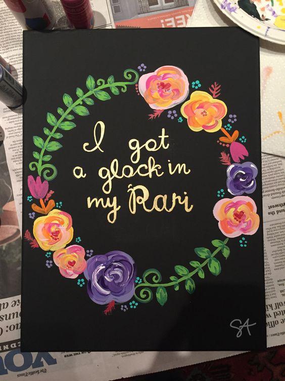 """Custom Fetty Wap """"I got a glock in my Rari"""" canvas by Sophie Amster"""