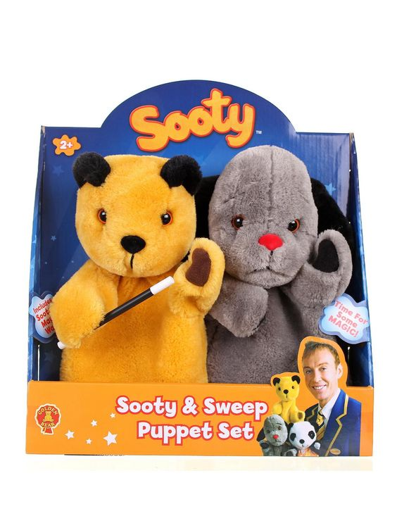 Put on your own Sooty show with these authentic Sooty and Sweep hand puppets! Watch out though, as Sooty's water gun is also included for mischief! Authentic Sooty and Sweep hand puppets. Authentic water gun included. Age 12+ months.