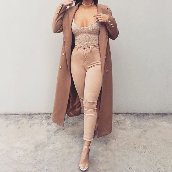 camel military uniform coat / low cut top / nude skinny jeans / transparent heels yeezy style