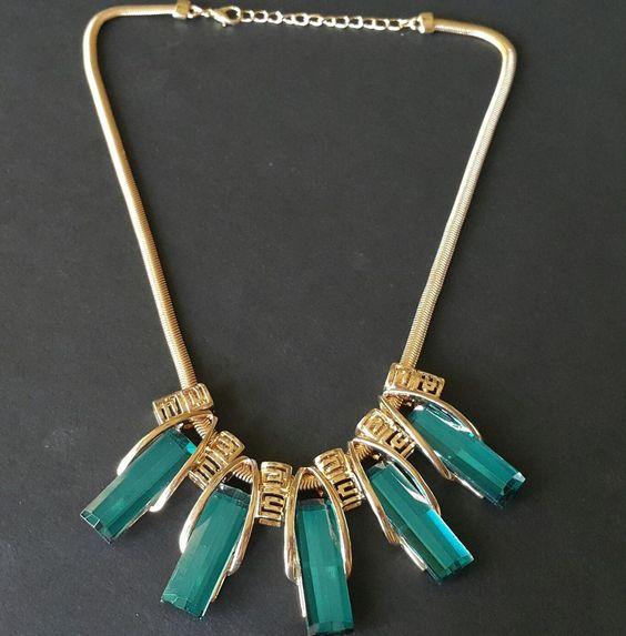 "Vintage Style 18"" Necklace Pendant Facet Blue Gold Tone Snake Chain Greek B5"