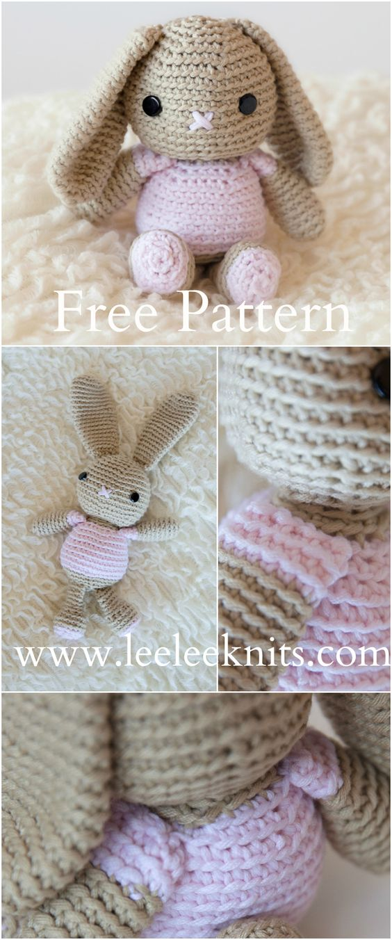Adorable and Free Crochet Bunny Pattern ☂ᙓᖇᗴᔕᗩ ᖇᙓᔕ☂ᙓᘐᘎᓮ http://www.pinterest.com/teretegui:
