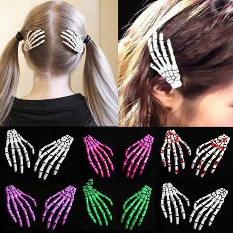 2 Pcs Set New Skull Hand Bone Hairpin Gripper Ghost Skeleton Hair Clips Hairclips Bone Claw Hair Accessories