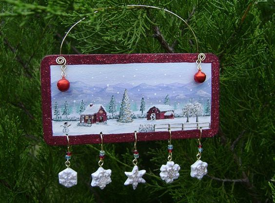 Blue Mountain Farm - Hand Painted Wooden Christmas Ornament - Barn Red Glitter,Whimsical,Traditional, Polymer Clay Snowflake Charm,Bell,Bead