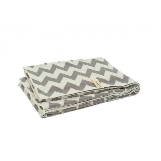 Deken Chevron grey/off-white 75x100cm | merk: Little Naturals | Beddengoed & slaapzakken | De kleine geluksvogel
