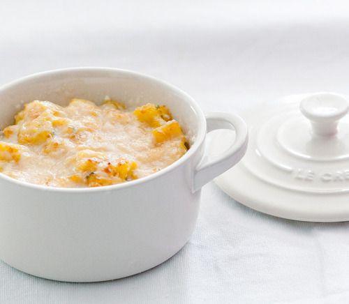 Cocotte de pétoncles au safran gratinés au parmesan // Queen scallops with saffron and parmesan