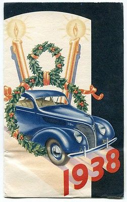 1938 Ford Dealer Christmas Greeting Card Vintage Christmas Greeting Cards Vintage Christmas Cards Vintage Christmas