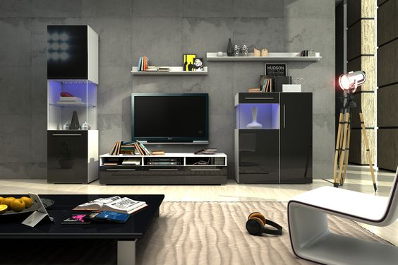 Die moderne Wohnzimmerwand Nice III vereint die Eleganz des - schwarz weiß wohnzimmer