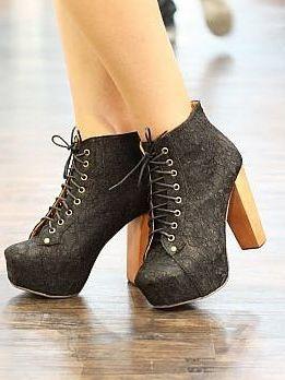 49.99 Fashion Tie High Heel Platform Boots ...