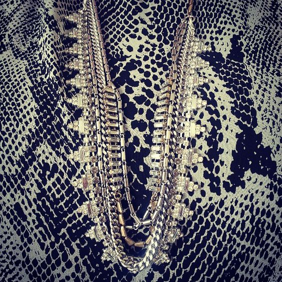The Stella & Dot Sutton necklace looks fabulous over a black and white (snake!) print.