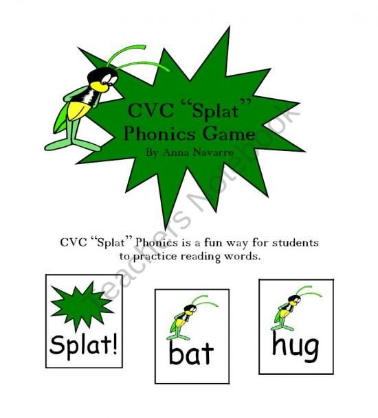 """This CVC """"Splat"""" Phonics Game is a fun way for students to practice reading CVC words and building fluency. This set also includes some CCVC words as a way of differentiating and challenging students who are ready for these kinds of words."""