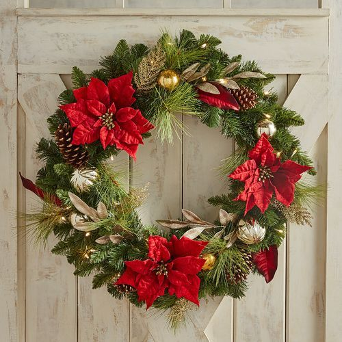 30 Oversized Led Pre Lit Royal Faux Poinsettia Wreath Pier 1 Imports Christmas Wreaths With Lights Christmas Wreaths Christmas Decorations Wreaths