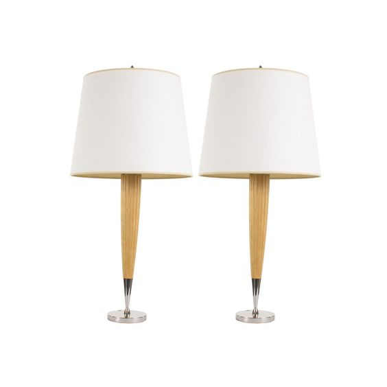 Pair Of Modern Wood Chrome Table Lamps From Boyd Lighting Decor Nyc Store Chrome Table Lamp Nyc Decor Lamp
