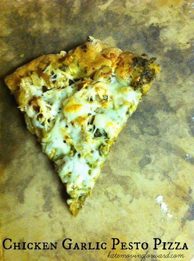Healthy Recipes: Chicken Garlic Pesto Pizza--a healthy and delicious twist on traditional homemade pizza!