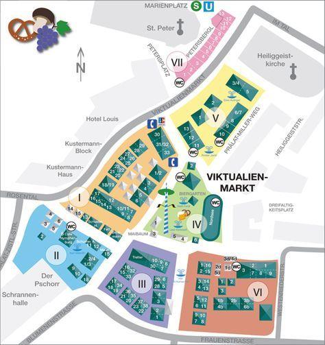 Ubersichtsplan Vom Viktualienmarkt Mit Abteilungen Und Standnummern Munchen Deutschland Munchen Munchen Bayern