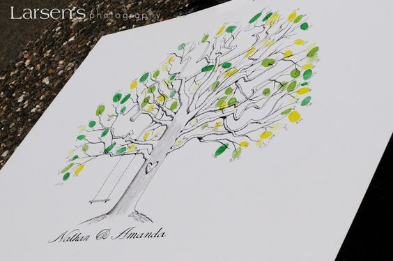 "thumbprint ""guest book"" with the couples wedding date hidden in the branches"