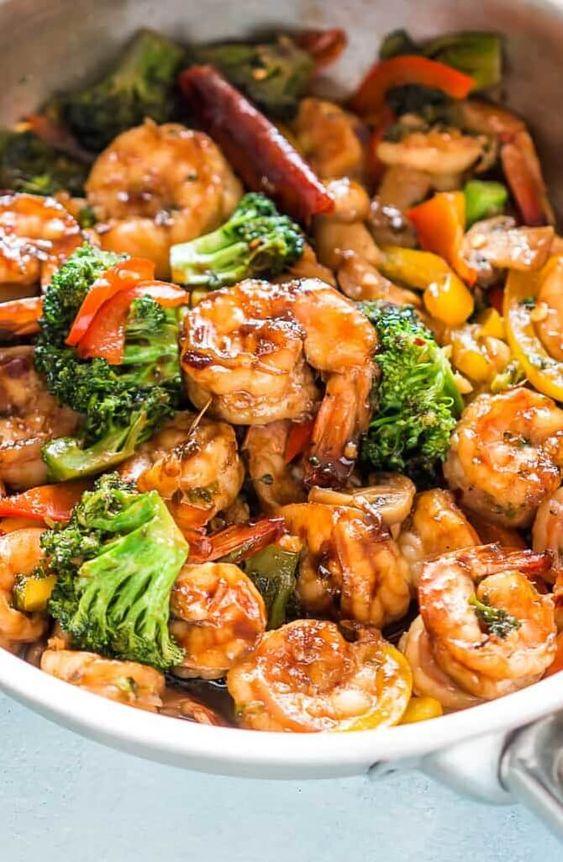 Healthy Teriyaki Shrimp Broccoli Stir Fry