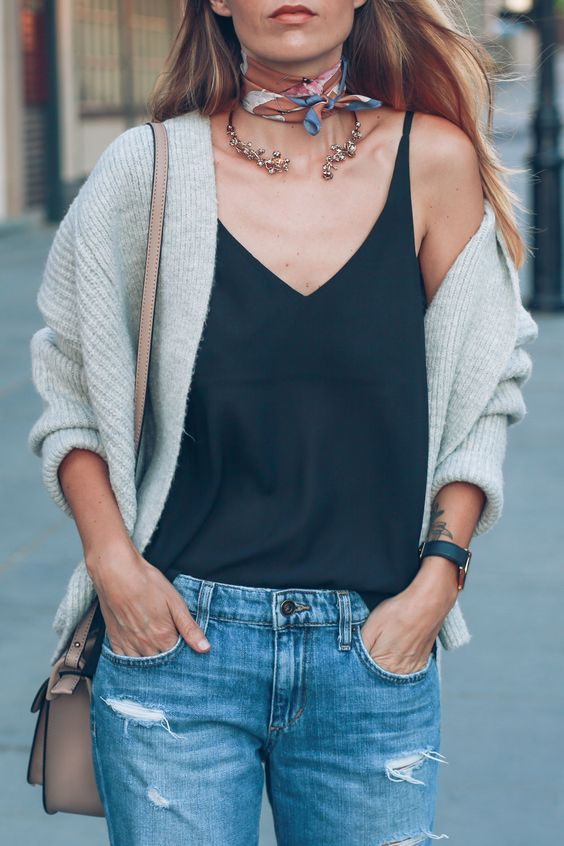 Styling a neck scarf and choker necklace for fall: