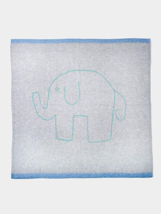 White + Warren Cashmere Elephant Baby Blanket, $195; whiteandwarren.com     - TownandCountryMag.com