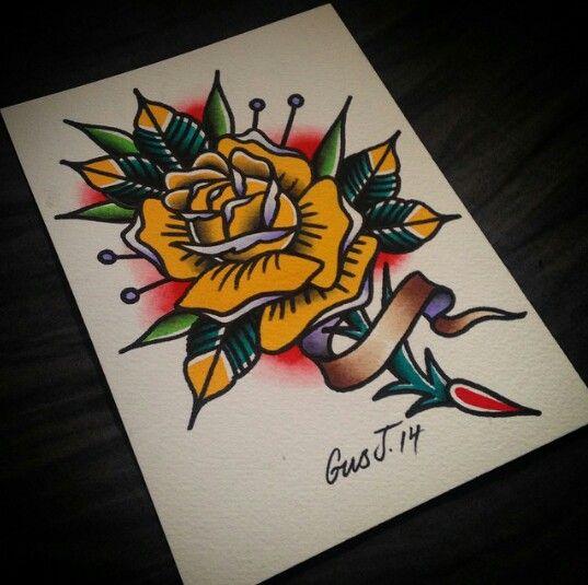 @gusj714 on Instagram. #traditional #tattoo # yellow #rose ... American Traditional Yellow Rose Tattoo