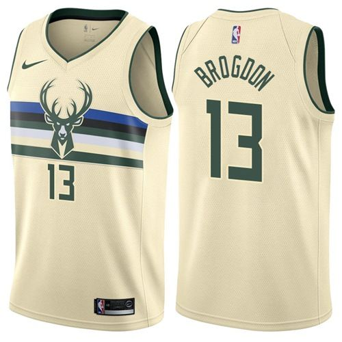 Nike Bucks 13 Malcolm Brogdon Cream Nba Swingman City Edition Jersey Nba Jersey Milwaukee Bucks Jersey