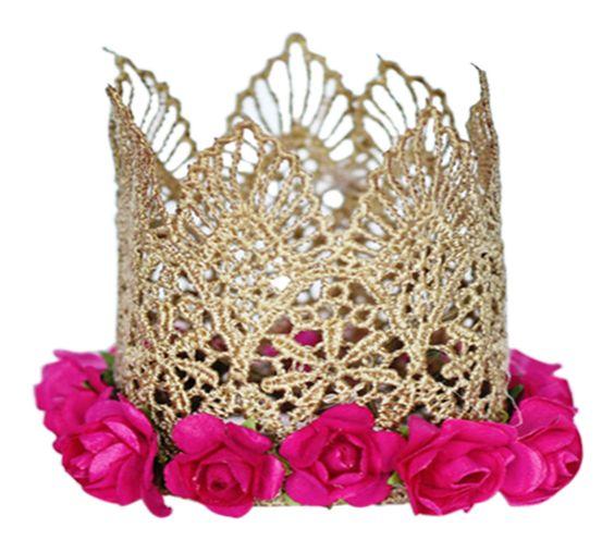 Floral Lace Crown Headband - Fuchsia