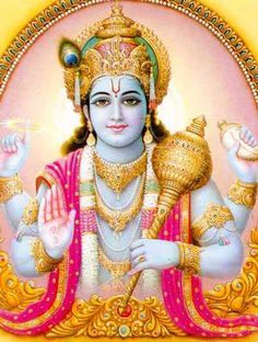 Vishnu...Dieu de la stabilité du monde...Il entretien la vie et la création. C'est le Dieu du temps. Épouses : Lakhmi, Bhumi... Quand l'ordre du monde est menacé, Vishnoi s,incarne pour descendre sur terre sous forme d,avatar...Les textes sacrés en recensent 10.
