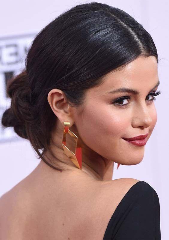 Top 10 Celebrity Hairstyles Trends Ideas In 2018 Sleek Updo Selena Gomez Updos Celebrity Updos