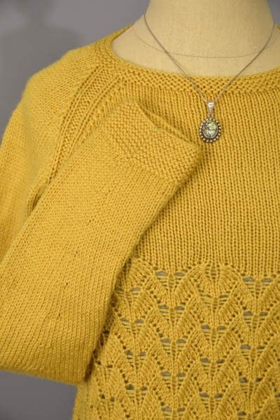 Free knitting pattern In Flight lace long sleeve pullover ...