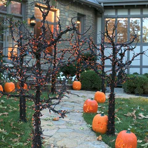 Easy version of this expensive one....collect downed branches from yard, place in dollar store metal buckets (plaster of paris), spray paint Branches and buckets black, wrap branches with orange lights. Definitely doing this for Halloween 2012! Front walk will look awesome.