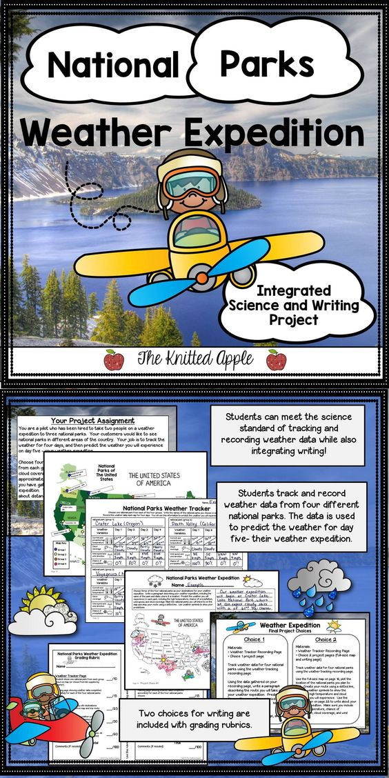 Students track and record weather data from four different national parks in the United States.  This data is used to predict the weather they will experience on their weather expedition.  This project is a great way to integrate writing into your science lessons! Resource includes grading rubrics.