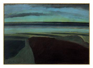 Leon Spilliaert - 'Marine au crépuscule' / 'Sea in the twilight', 1925 (gouache on paper)