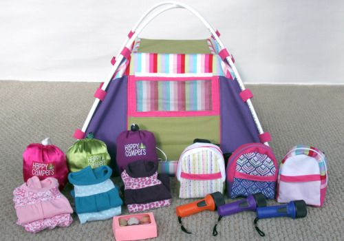 Backyard Sleepover Tent Gift Set for 18 inch dolls such as American Girl, including tent, mummy sleeping bags, knit pajamas and backpacks - patterns for all available at PixieFaire!