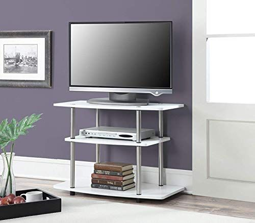 Modern 32 Inch White Tv Stand Console Storage Media Tv Cabinet Display Shelf Shelves Unit Living 3 Tier Tv Stand White Tv Stands Convenience Concepts